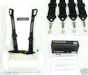1 Tanaka Universal Black 4 Point Buckle Racing Seat Belt Harness 2