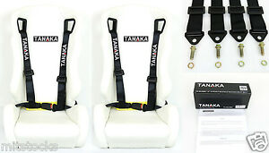 2 X Tanaka Universal Black 4 Point Buckle Racing Seat Belt Harness 2