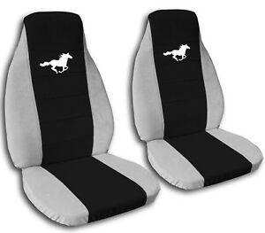 2013 2015 Ford Mustang White Horse Seat Covers Black Center Coupe Convertible
