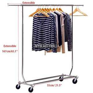 Clothing Garment Rack Portable Dry Wheel Rolling Hanger Shirt Heavy Duty 65