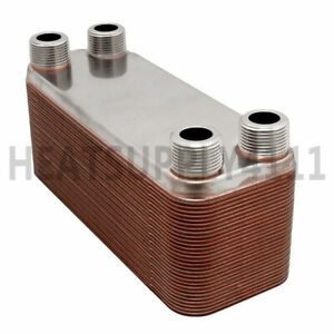 10 plate 3 X 8 Brazed Plate Heat Exchanger With 3 4 Mnpt Ports