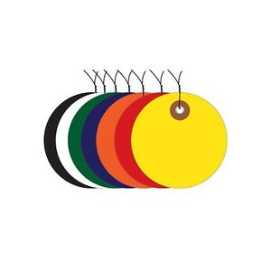 plastic Circle Tags Pre wired 3 Yellow 100 each
