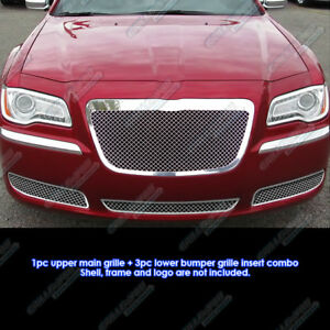 Custom Fits 2011 2013 Chrysler 300 300c Stainless Steel Mesh Grill Combo