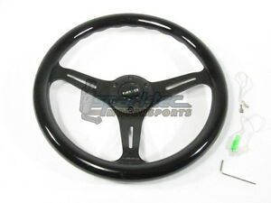 Nrg Classic Wood Grain Steering Wheel 350mm Black With 3 Spoke Center In Black