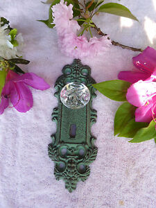 Cast Iron Decorative Door Pull Plate Acrylic Glass Knob Antique Teal Gold