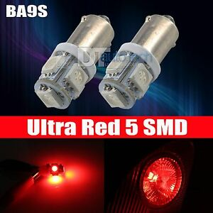 10x Red Ba9s 5 Smd Led Interior Map Side Door Light Bulbs