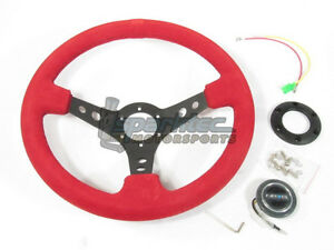 Nrg 350mm Sport Suede Steering Wheel 3 Deep Red W Black Stich