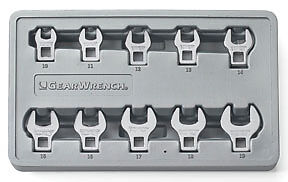 Gearwrench 81909 Metric Crowfoot Wrench Set 10 Pc