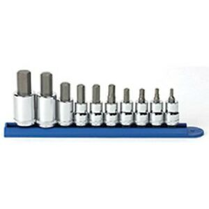 Gearwrench 80578 3 8 And 1 2 Drive Metric Hex Bit Socket Set 10 Pc