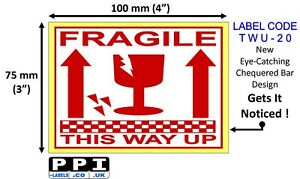Red Fragile Glass This Way Up Packaging Labels Stickers Roll 100x75mm 4x3 Twu 20