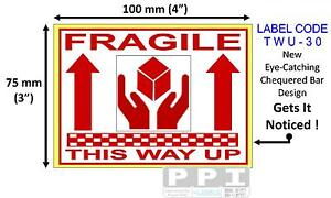 Red Fragile Hands This Way Up Packaging Labels Stickers Roll 100x75mm 4x3 Twu 30