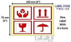4 Icon Red This Way Up Fragile Glass Keep Dry Labels Stickers 100x75mm Twu 40