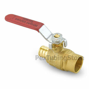 10 3 4 Pex Crimp X 3 4 Sweat solder Brass Shut off Ball Valves Full Port