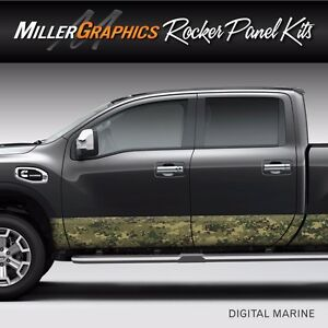 Camo Digital Marine Rocker Panel Graphic Decal Wrap Kit Truck 4 Size Options