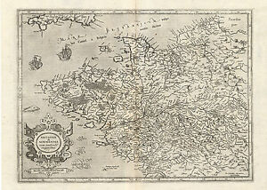 Antique Map France Brittany Normandy Mercator 1636