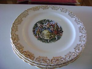 American China Dec Co Warranted 22k Gold Antique China Plates Set Of 3