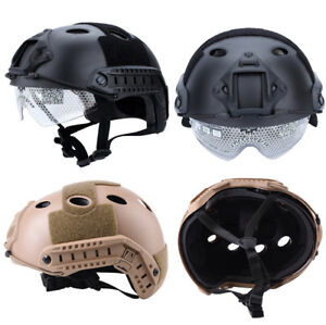 Tactics Airsoft Paintball Climbing Protective Combat FAST Helmet w Goggle New DH