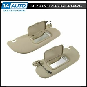 Oem Tan Sun Shade Visor With Integrated Mirror Lights Lh Rh Pair For Ford Suv