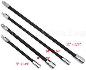 4pc Flexible Socket Extension Bar Set 6 8 10 12 Ratchet Flex 1 4
