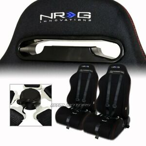 2x Nrg Black Cloth Red Stitching Racing Seats Black Seat Belt Set For Mitsubishi