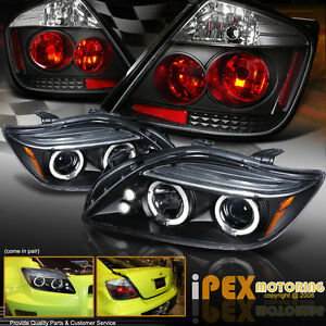 For 2004 2007 Scion Tc Dual Halo Projector Led Headlights Tail Lights Black