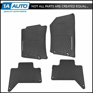 Oem Rubber All Weather Tacoma Logoed Black Floor Mats Set Of 4 For Toyota Tacoma