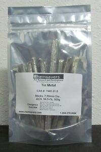 Tin Metal Sticks 7 59mm Dia Acs 99 5 Certified 500g