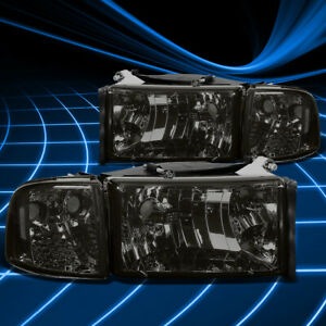 For 94 02 Dodge Ram 1500 3500 Smoked clear Headlights corner Lamps Replacement