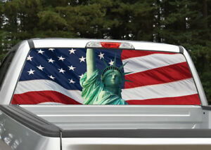 Statue Of Liberty American Flag Rear Window Decal Graphic Sticker For Truck Suv