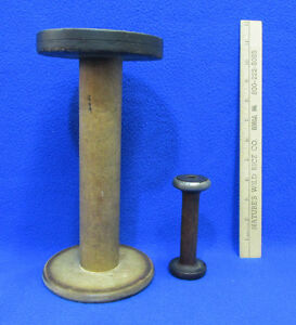 Vintage Wooden Spools Spindles Bobbins 1 Large And 1 Small Lot Of 2