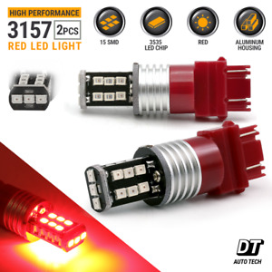 2x 3157 Red Led 60w Bright 3535 Chip High Power Brake Stop Tail Light Bulbs