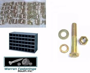 Grade 8 Bolt Nut washer Assort Kit 1368pcs 1 4 Thru 1 2 to 6 Long Fine W Bin