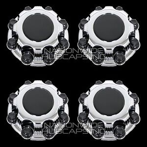4 Chevy Gmc 8 Lug Chrome Wheel Center Hub Caps Nut Covers Fits Alloy