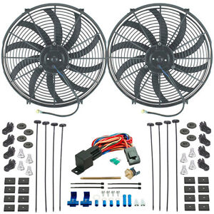 Twin 16 Inch Electric Radiator Condenser Cooling Fans Push in Probe Thermostat
