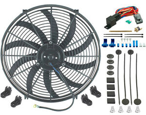 16 Inch Electric Cooling Fan 12 Volt Push in Radiator Fin Probe Thermostat Kit
