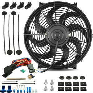 14 Inch Electric Cooling Fan 12 Volt Push in Radiator Fin Probe Thermostat Kit