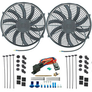 Twin 14 Inch Electric Radiator Cooling Fans Push in Fin Probe Thermostat Switch