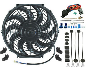 12 Inch Electric Cooling Fan 12 Volt Push in Radiator Fin Probe Thermostat Kit