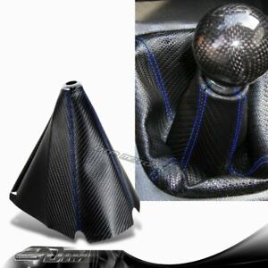 Jdm Blue Stitch Pvc Carbon Fiber Look Shifter Shift Knob Boot Cover For Mustang