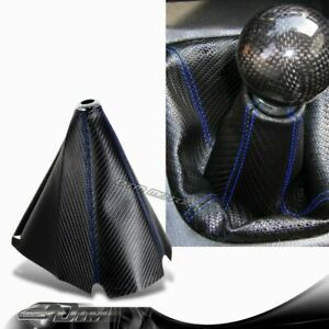 Jdm Blue Stitch Pvc Carbon Fiber Look Shifter Shift Knob Boot Cover For Nissan