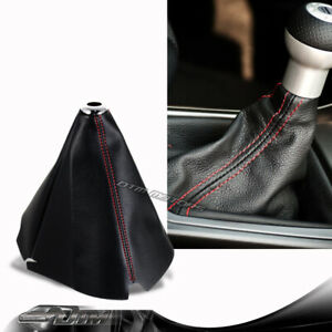 Jdm Red Stitch Black Pvc Leather Shifter Shift Gear Knob Boot Cover For Toyota