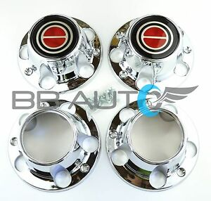 1980 1996 Ford F150 Bronco Van Chrome 4x4 Center Caps Hubs Set Red New 2 Open