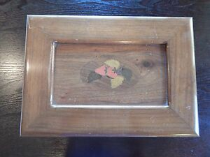 Vintage Wood Marquetry Sewing Jewelry Box Cherry Or Walnut Signed By Maker