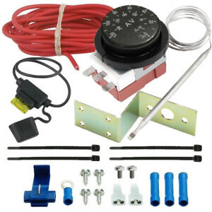 Adjustable Electric Radiator Fan Thermo stat Switch Temperature Control ler Kit