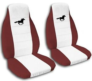 Ford Mustang Seat Covers 2008 2012 White Center And Black Horse 20 Color Options