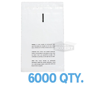 6000 6x8 Self Seal Suffocation Warning Clear Poly Bags 1 5 Mil Free Shipping