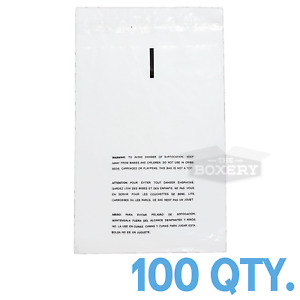 100 9x12 Self Seal Suffocation Warning Clear Poly Bags 1 5 Mil Free Shipping