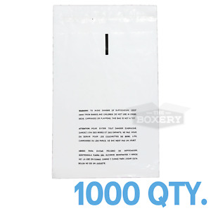 1000 12x17 Self Seal Suffocation Warning Clear Poly Bags 1 5 Mil Free Shipping
