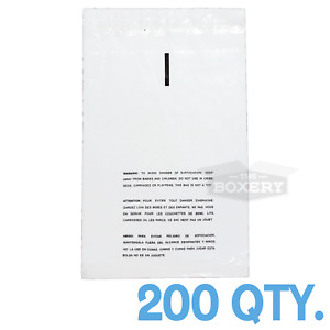200 19x24 Self Seal Suffocation Warning Clear Poly Bags 1 5 Mil Free Shipping