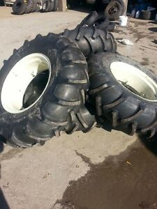 Four 14 9x24 John Deere Ford 8 Ply Tubeless Easy Repair Tractor Tires On Wheels
